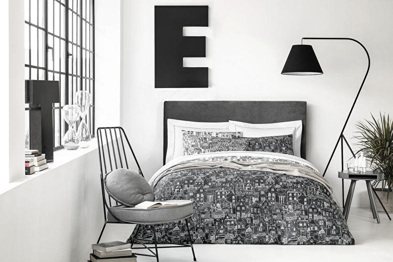 Серая спальня в скандинавском стиле - Дизайн интерьера