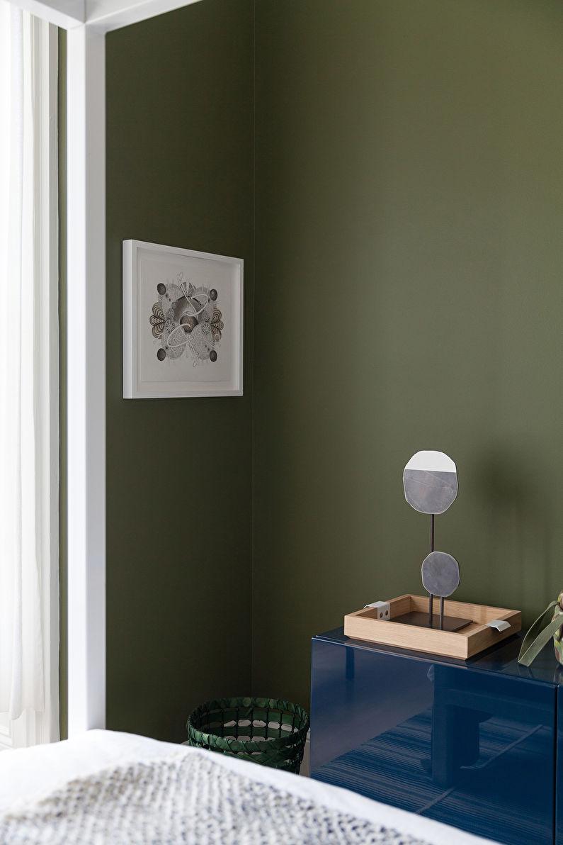 Зеленая спальня в скандинавском стиле - Дизайн интерьера