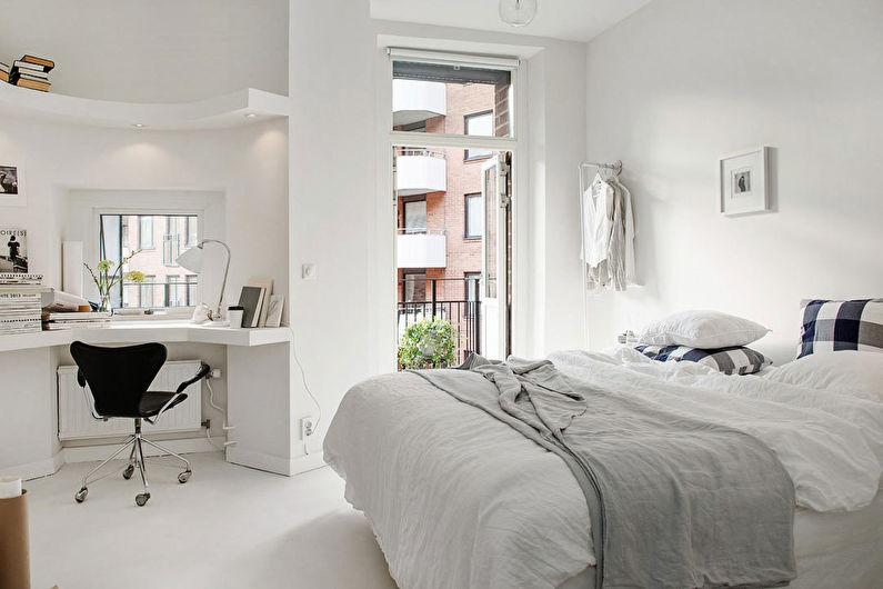 Дизайн спальни в скандинавском стиле - Отделка стен