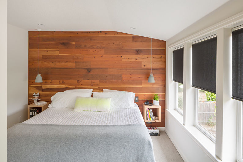 Дизайн спальни в скандинавском стиле - Отделка потолка