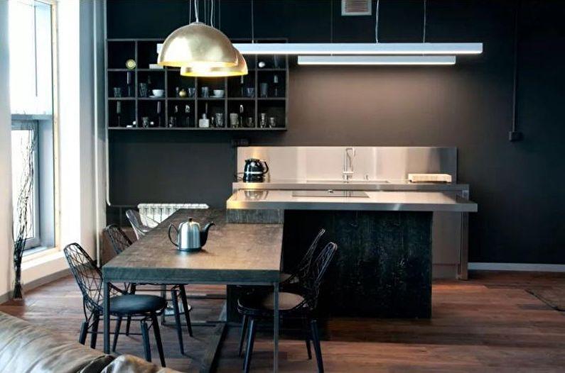 Кухня 14 кв.м. в стиле хай-тек - Дизайн интерьера