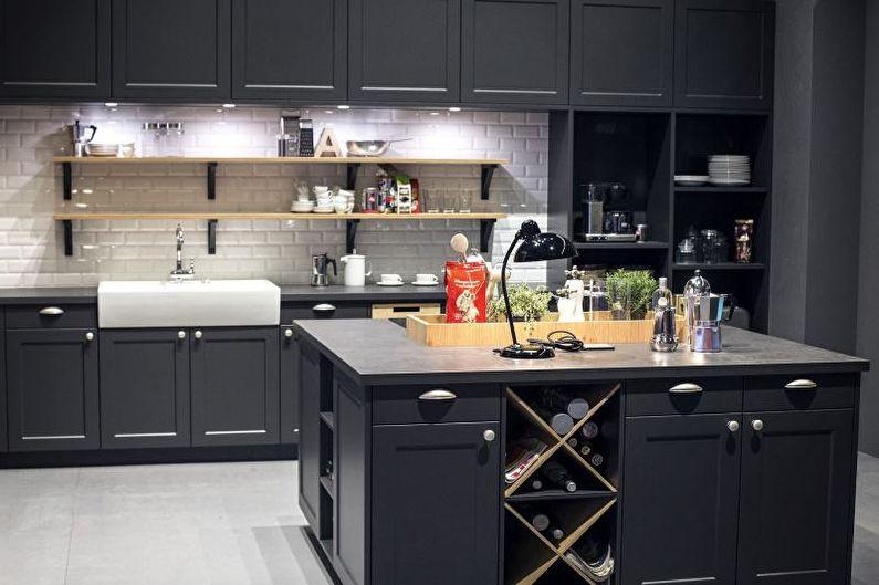 Серая кухня 14 кв.м. - Дизайн интерьера