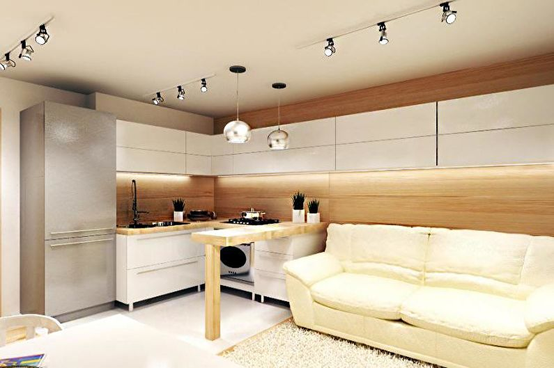 Дизайн кухни 14 кв.м. - Отделка потолка