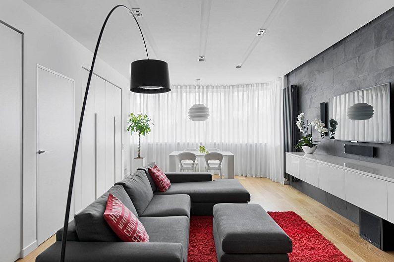 Дизайн узкой гостиной - Особенности