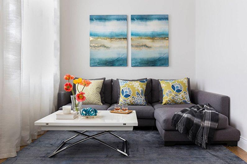 Дизайн узкой гостиной - Цветовые решения