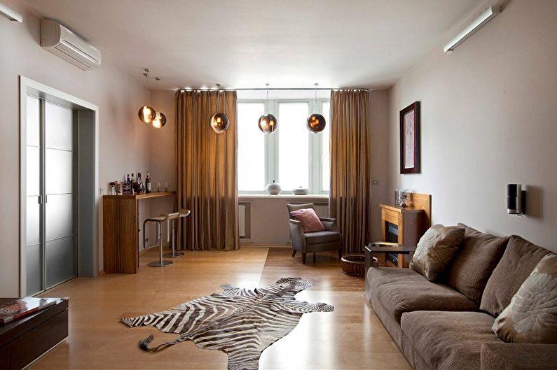 Дизайн узкой гостиной - Отделка пола