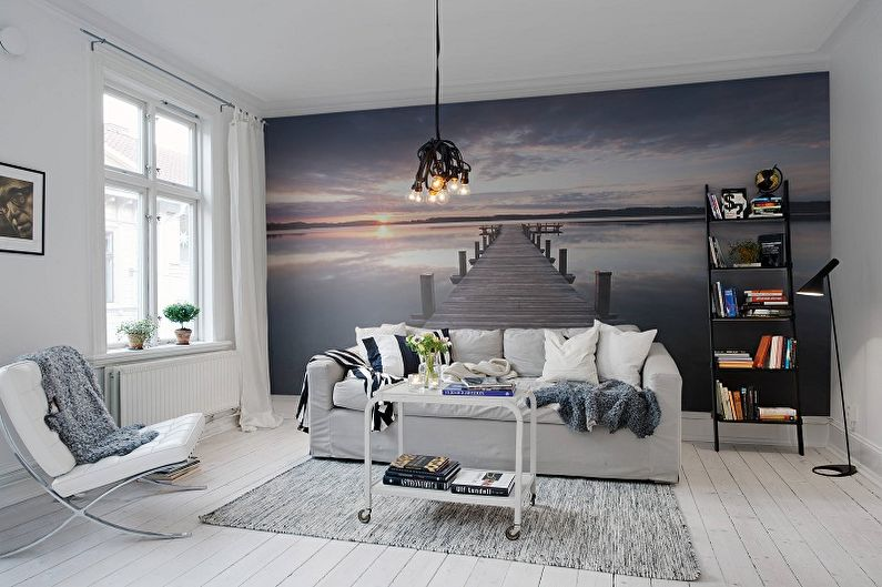 Дизайн узкой гостиной - Отделка стен