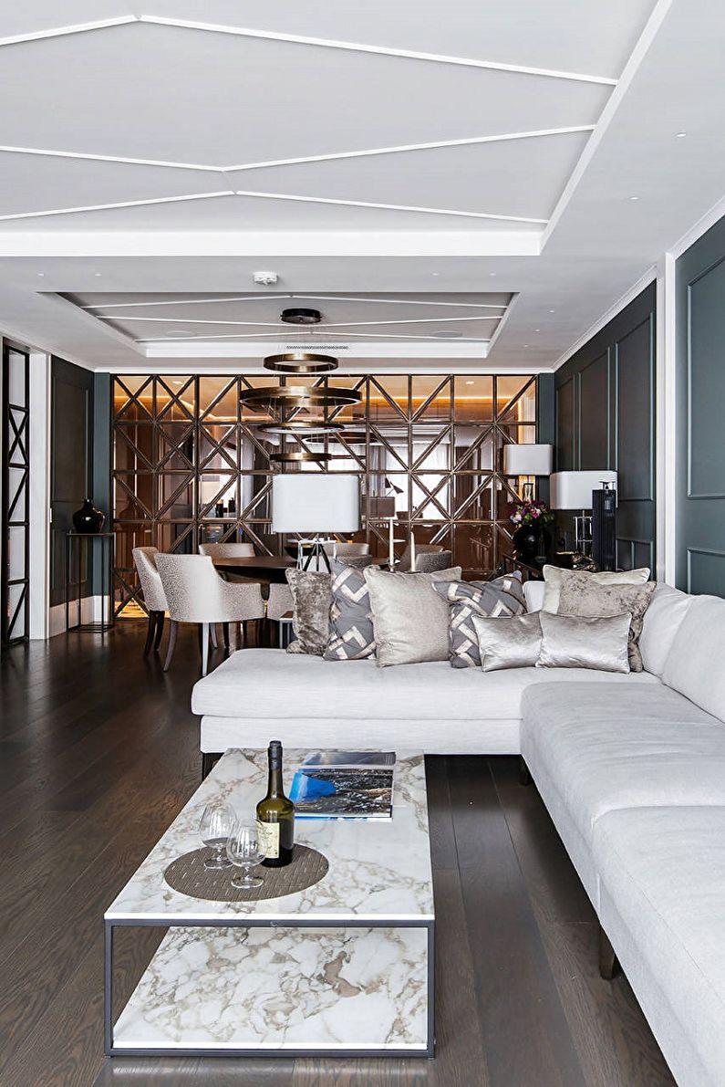 Дизайн узкой гостиной - Отделка потолка
