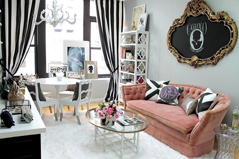 Дизайн узкой гостиной - Декор и освещение