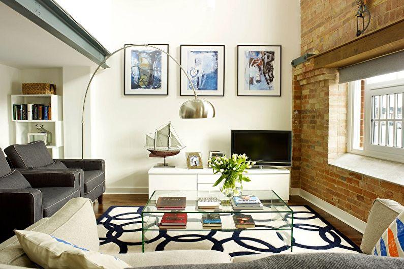 Дизайн интерьера узкой гостиной - фото