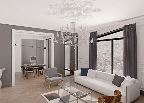 Дизайн гостиной «Контраст форм»