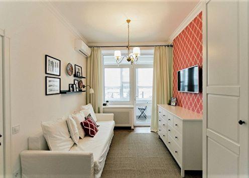 Дизайн узкой гостиной (65 фото)