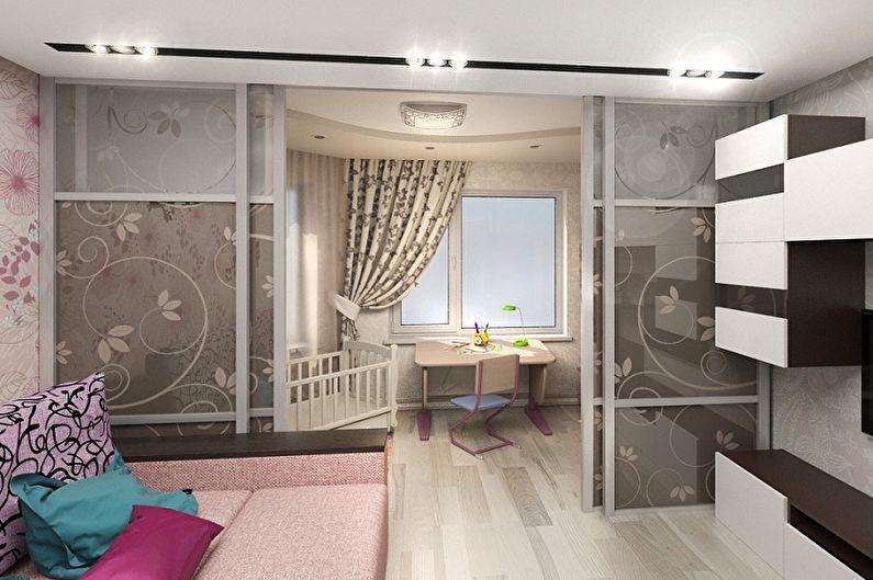 Как зонировать комнату для родителей и ребенка - Зонирование комнаты раздвижными дверями