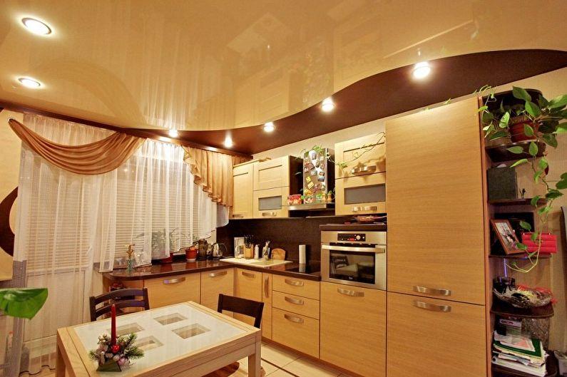 Дизайн кухни 3 на 4 метра - Отделка потолка