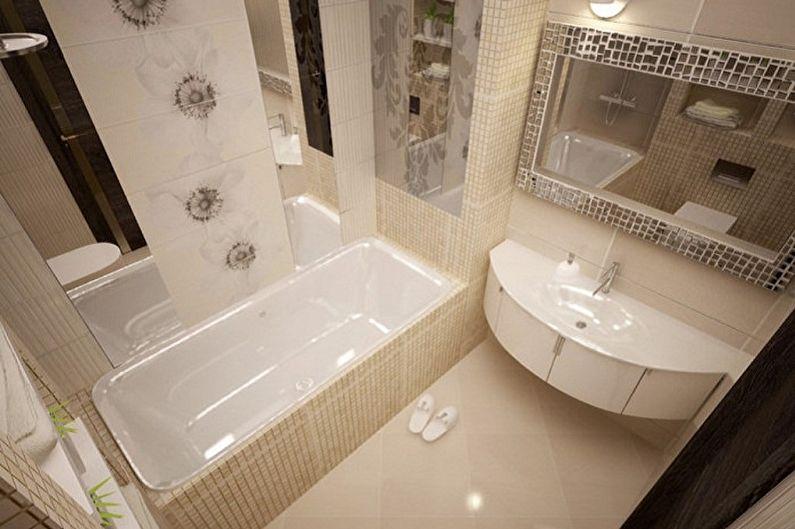Бежевая ванная комната 3 кв.м. - Дизайн интерьера