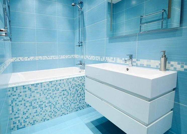Синяя ванная комната 3 кв.м. - Дизайн интерьера