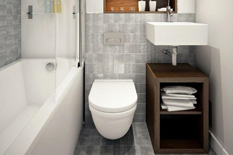 Серая ванная комната 3 кв.м. - Дизайн интерьера