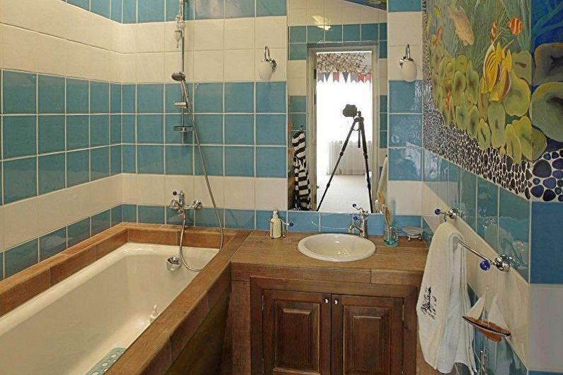 Ванная комната 3 кв.м. в морском стиле - Дизайн интерьера
