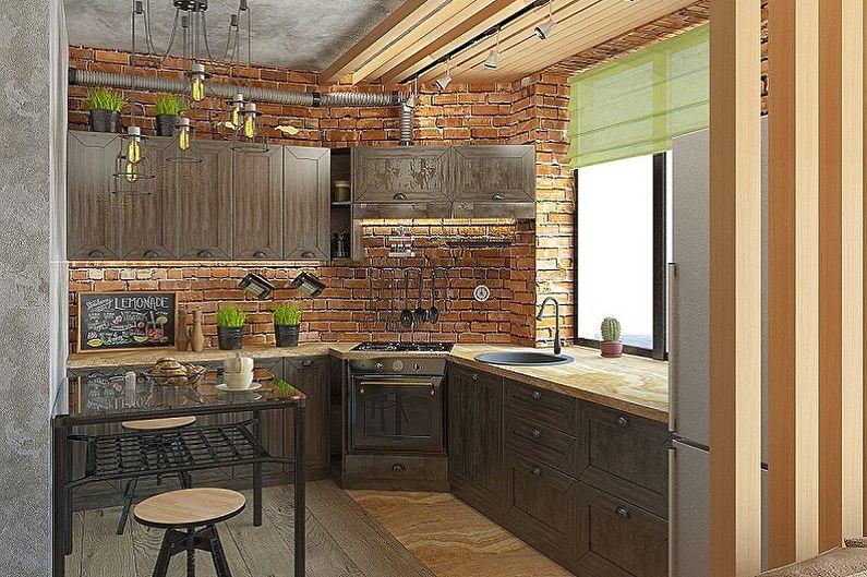 Кухня 3 на 3 метра в стиле лофт - Дизайн интерьера