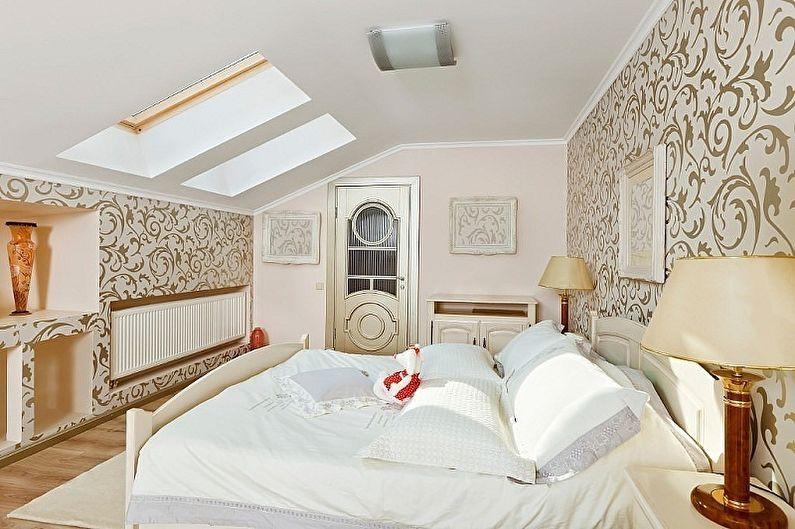 Дизайн спальни на мансарде - Отделка стен