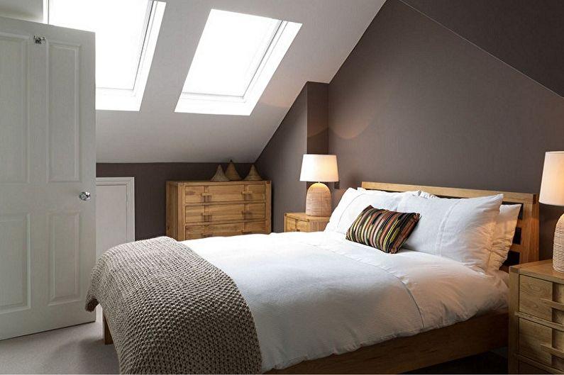 Дизайн спальни на мансарде - Мебель и освещение
