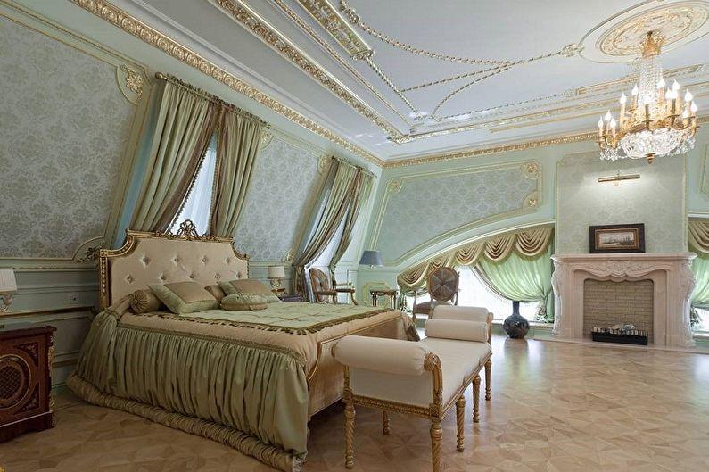 Спальня на мансарде в классическом стиле - Дизайн интерьера
