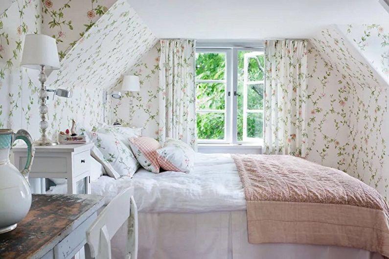 Спальня на мансарде в стиле прованс - Дизайн интерьера