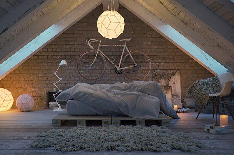 Спальня на мансарде в стиле лофт - Дизайн интерьера