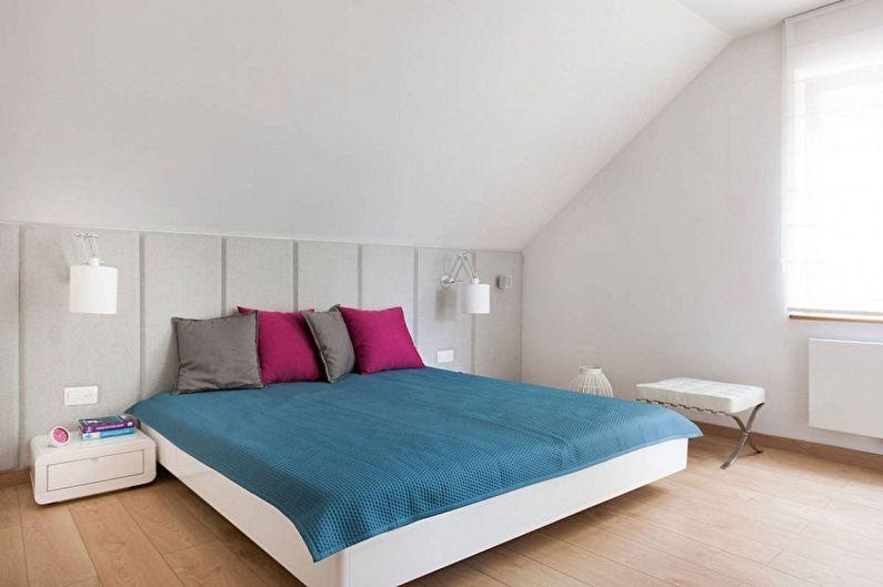 Спальня на мансарде в стиле минимализм - Дизайн интерьера