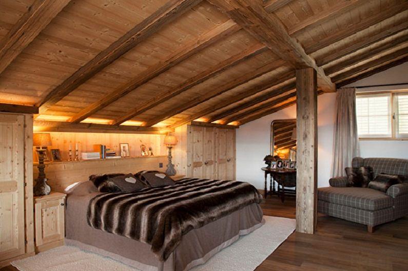 Спальня на мансарде в стиле шале - Дизайн интерьера