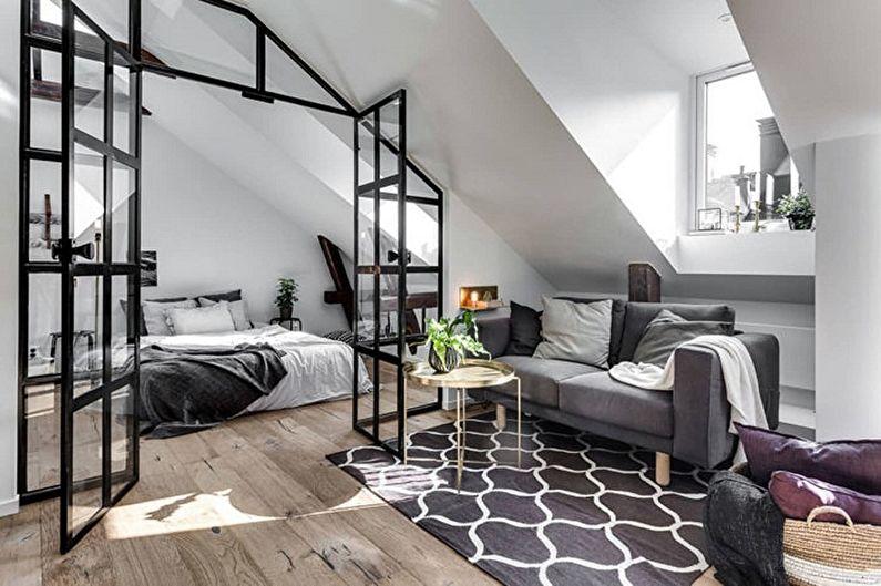 Дизайн интерьера спальни на мансарде - фото