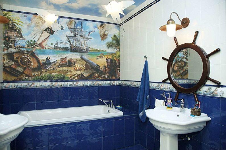 Ванная комната 5 кв.м. в морском стиле - Дизайн интерьера