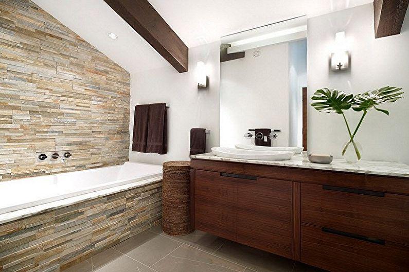 Декоративный камень в интерьере ванной комнаты