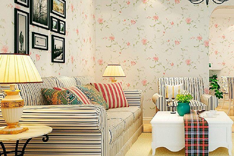 Цвет обоев для гостиной - Виды обоев