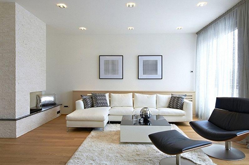 Белые обои для гостиной - Цвет обоев для гостиной
