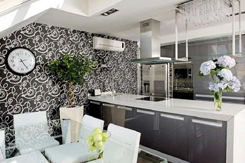 черно-белые обои на кухне фото этом