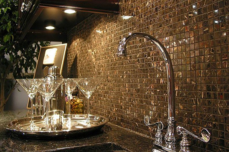 Фартук для кухни из мозаики - фото