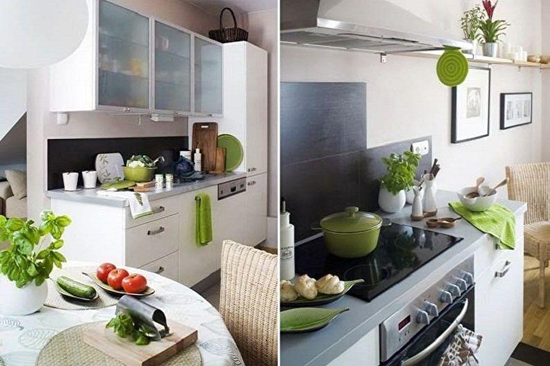 Дизайн бело-зеленой кухни - Особенности цветовой комбинации