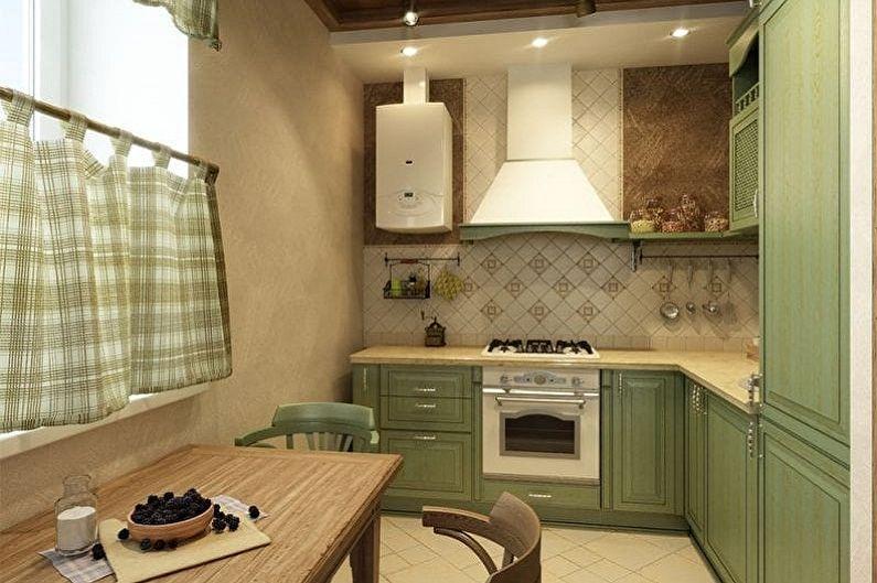 Бело-зеленая кухня - Сочетание с коричневым