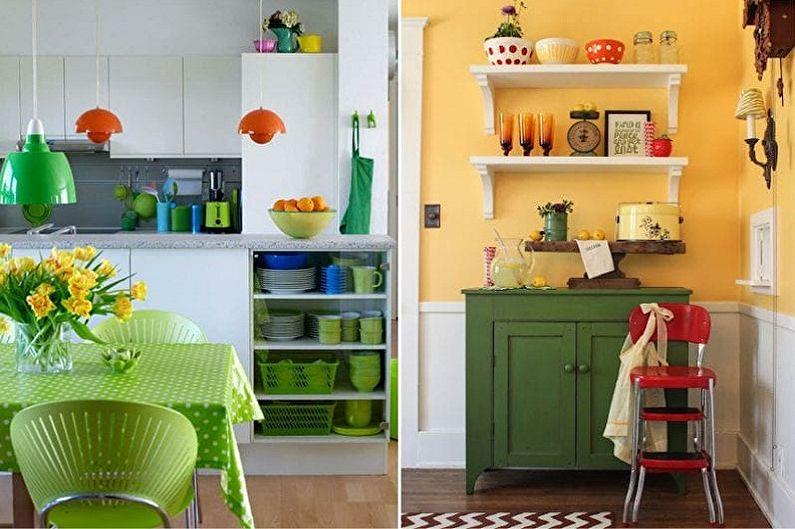 Бело-зеленая кухня - Сочетание с оранжевым