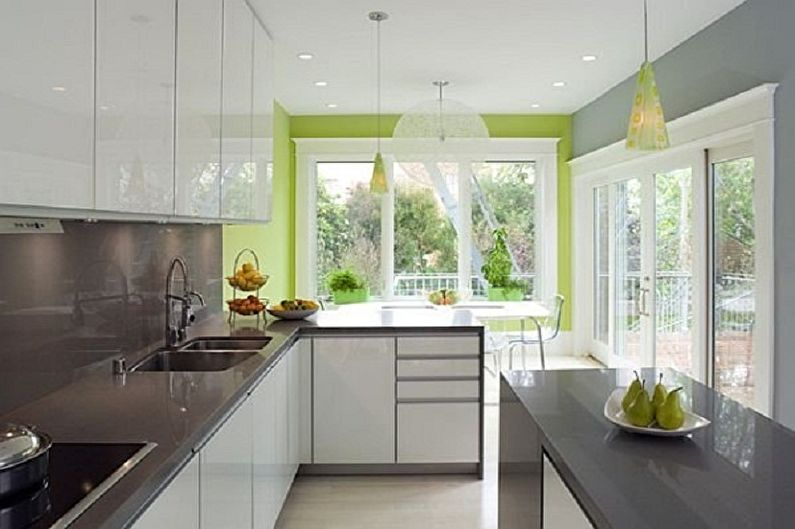 Бело-зеленая кухня - Сочетание с серым