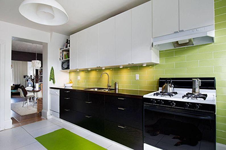 Бело-зеленая кухня - Сочетание с черным