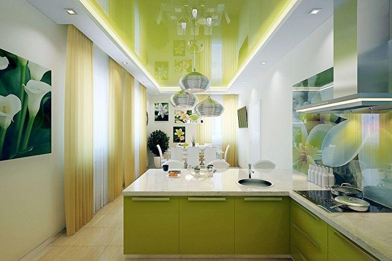 Дизайн бело-зеленой кухни - Отделка потолка