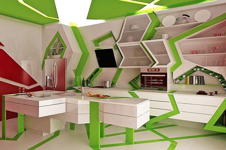 Дизайн бело-зеленой кухни - Мебель