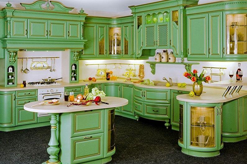 Бело-зеленая кухня в классическом стиле - Дизайн интерьера