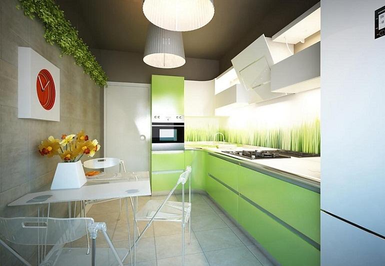 Бело-зеленая кухня в стиле минимализм - Дизайн интерьера