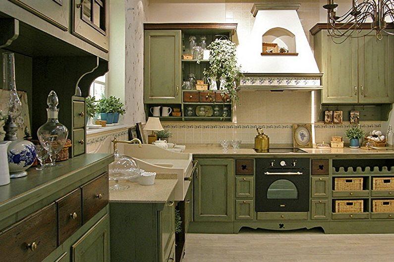 Бело-зеленая кухня в стиле прованс - Дизайн интерьера