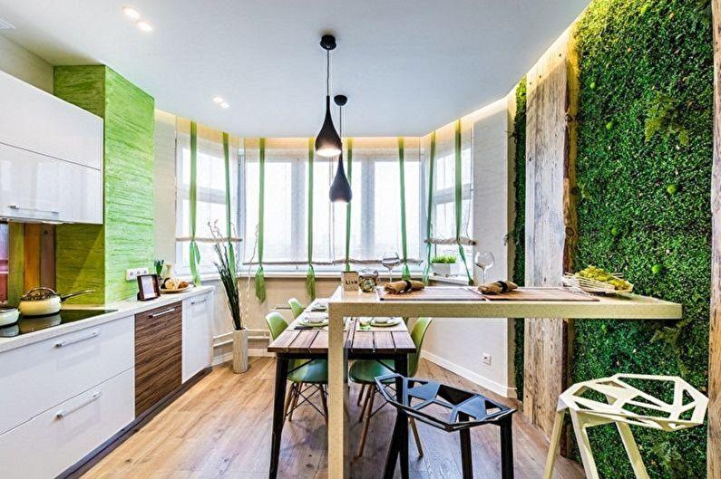 Бело-зеленая кухня в эко-стиле - Дизайн интерьера