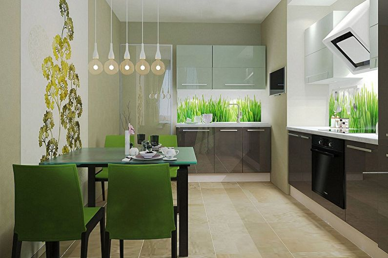 обои на зеленую кухню фото вариантов дизайнерского выведения