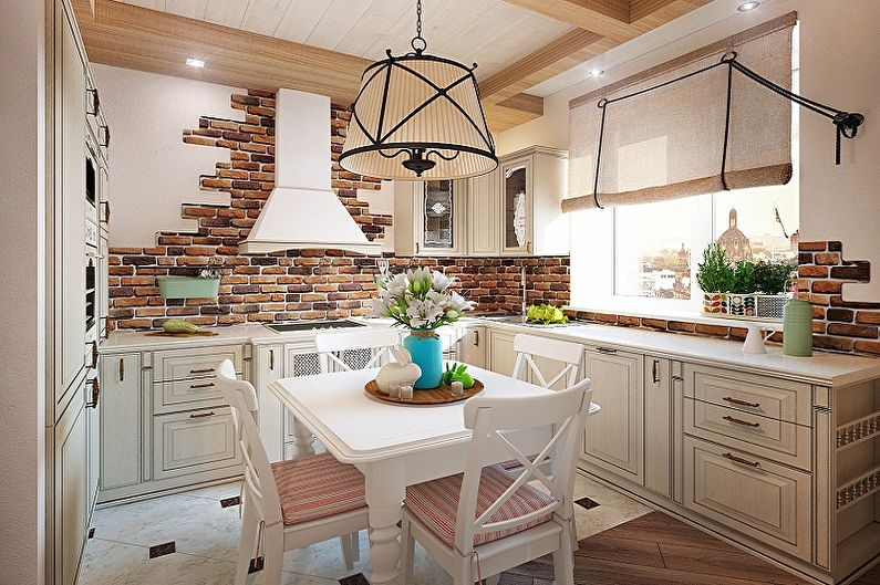 Кухня 4 кв.м. в стиле кантри - Дизайн интерьера